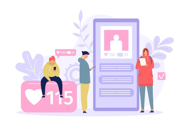 Social media people. young men and women using smartphone. phone screen with photo, likes and comments. gadget addiction flat vector concept. characters checking network profile in device