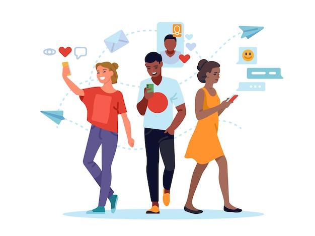 Люди из социальных сетей. молодые женщины и мужчины используют социальные сети, отправляют сообщения в мобильный интернет, оставляют комментарии и ставят лайки. векторный концепт