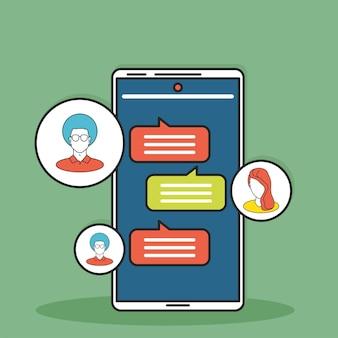 Social media phone bubbles chatting