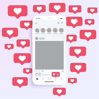 Social media photo frames display on mobile application with like heart notification