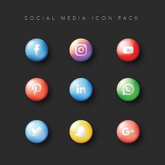Social media populer icon 9 set