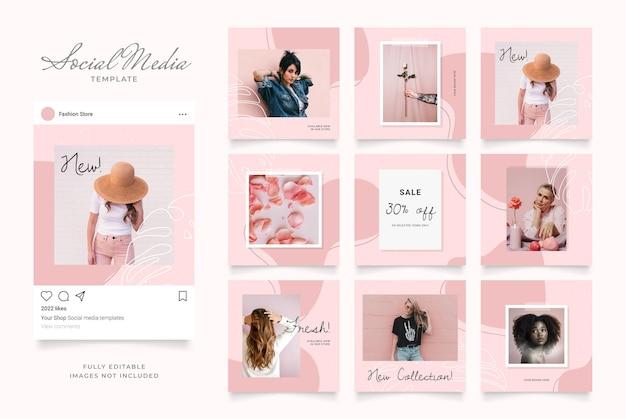 패션 판매 촉진을위한 소셜 미디어 게시물 배너.