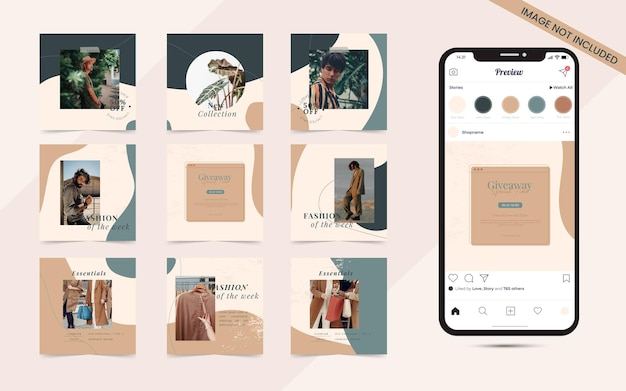 Instagramとfacebookのスクエアフレームパズルファッション販売促進のためのソーシャルメディア投稿バナー