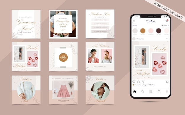 Social media post banner for instagram and facebook square frame puzzle fashion sale promotion