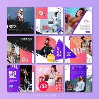 Social media post or banner template pack fashion sale