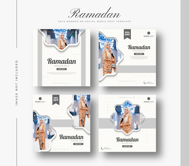 Social media post or banner template for ramadan sale promotion with simple and clean concept in white and gray