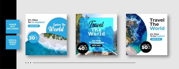 Social media post banner template for traveling