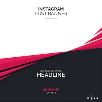 Social media post banner template with abstract shapes