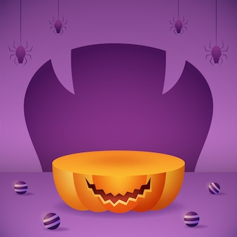 Social media post banner with 3d product display pumpkin podium