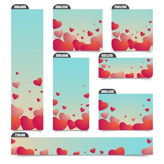 Social media post or banners with glossy hearts in skyblue background. Premium Vector