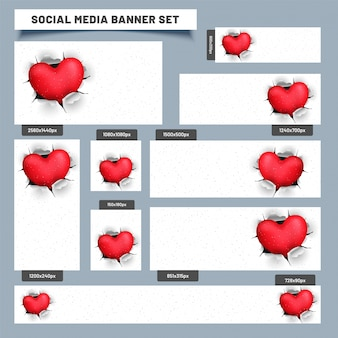 Social media post or banners with heart coming out from torn paper.