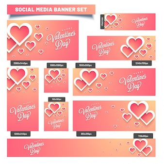 Social media post or banners with paper hearts.