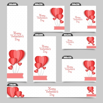 Social media post or banners with red paper hot air balloons in heart shapes.