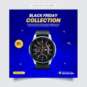 Social media post of black friday gadget collection template