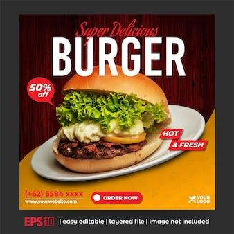 Promozione dell'hamburger post sui social media