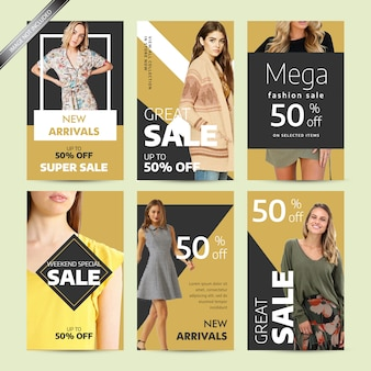 Social media post design template for fashion