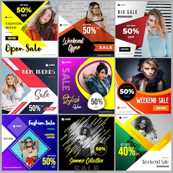 Social media post design templates collection