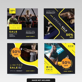 Social media post design templates pack