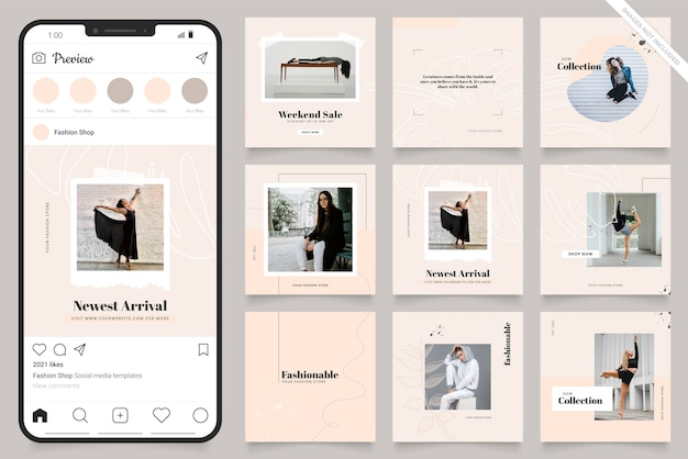 Social media post and feed fashion banner template