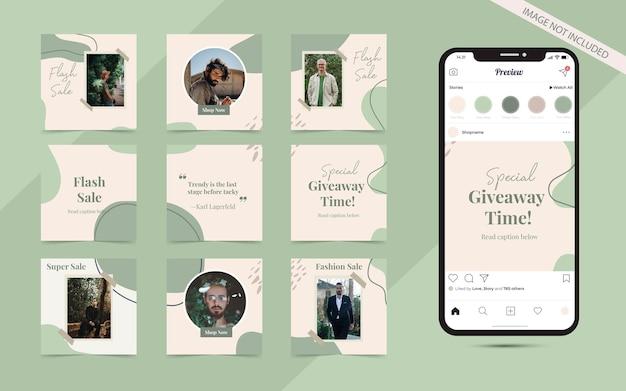 Instagramの正方形のファッション販売促進のためのソーシャルメディア投稿フィードセットバナー