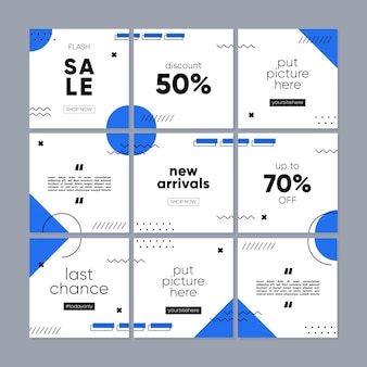 Social media post or feed template for promotion sale with geometric concept