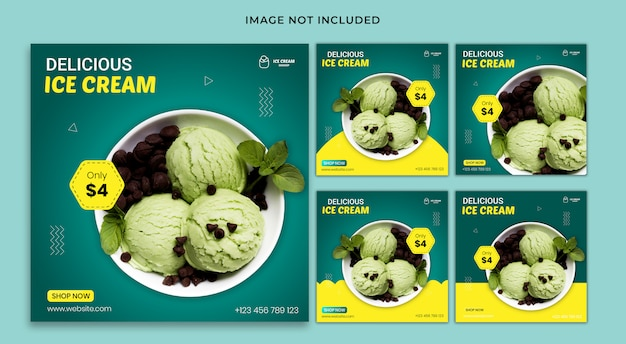 Social media post food banner template set