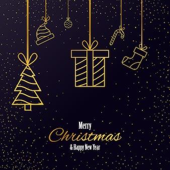 ソーシャルメディア投稿グリーティングカードメリークリスマスと新年あけましておめでとうございます