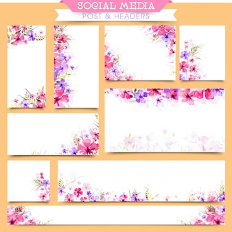 Social media post and headers with beautiful flowers.