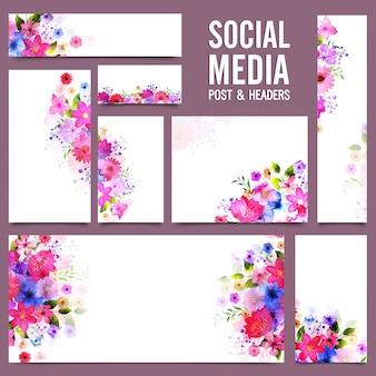 Social media post and headers with colorful flowers.