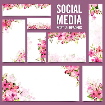 Social media post and headers with pink watercolor flowers.