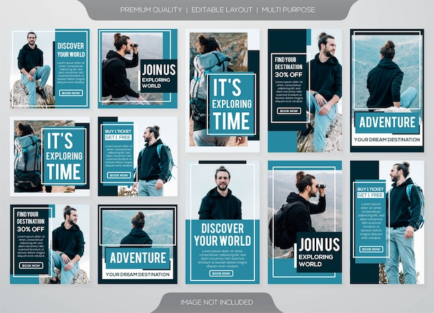 Social media post and instagram stories template collection
