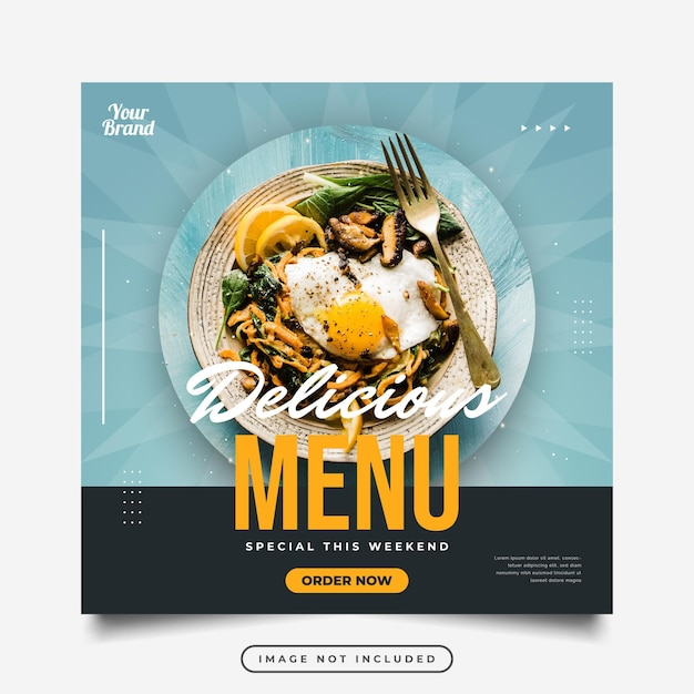 食べ物や飲み物のプロモーションのためのソーシャルメディアの投稿またはバナーテンプレート。ソーシャルメディアでのマーケティングのためのレイアウトデザイン