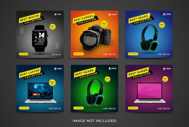 Social media post set of gadget collection template