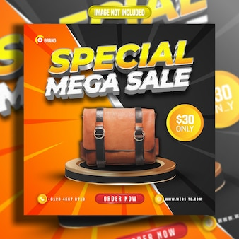 Social media post special mega sale comic style