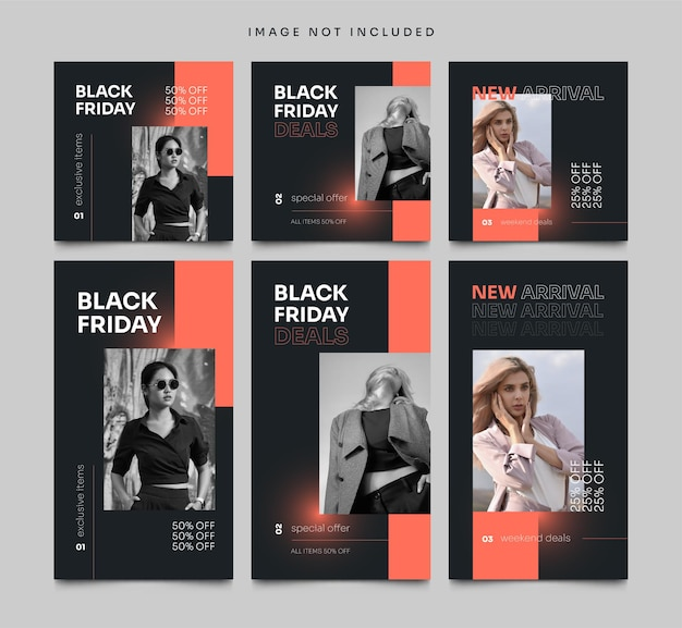 Social media post and stories black friday banner template