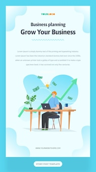 Social media post story template with flat character, statistics illustration growing business used for web, app, infographic, advertising, etc