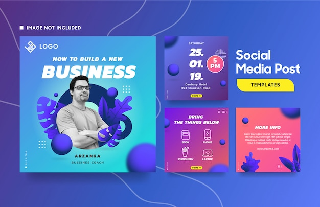 Social media post template for event with cool gradient and botanical element