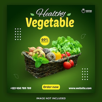 Social media post template for food and grocery shop advertising