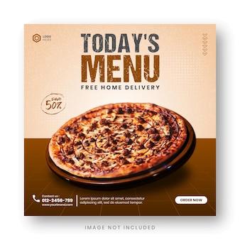 Шаблон сообщения в социальных сетях для продвижения меню еды