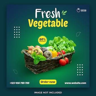 食料品店と食品バナーのソーシャルメディア投稿テンプレート