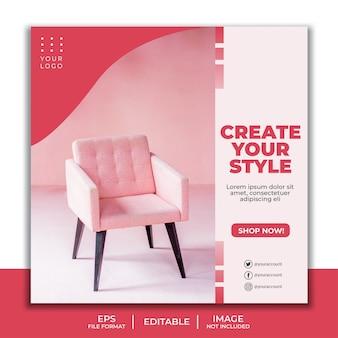 Social media post template for furniture