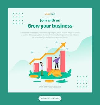 ソーシャルメディア投稿テンプレート統計イラストキャラクターコインドルでビジネスを成長させる