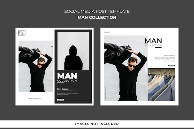 Social media post template man collection