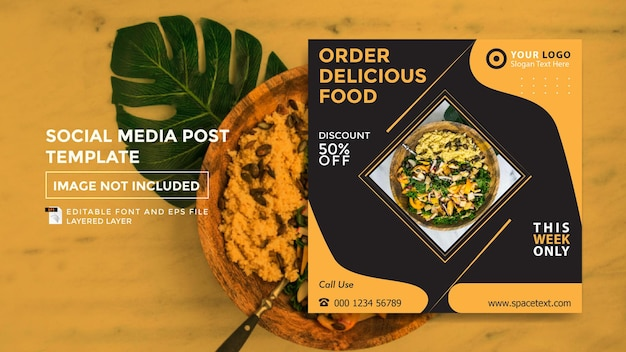 Social media post template ordering food