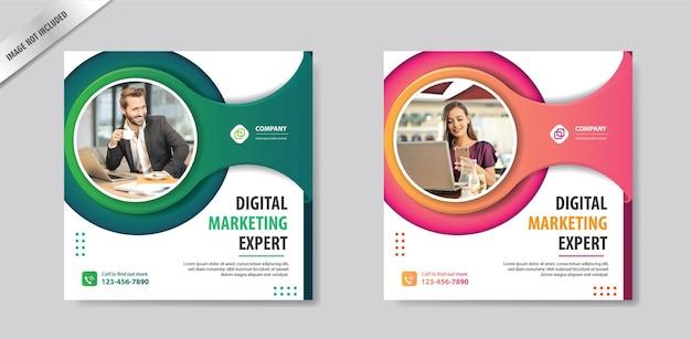 Квадратный макет шаблона сообщения в социальных сетях для продвижения маркетинга