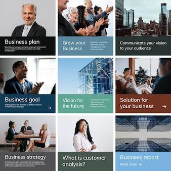 Modello di post sui social media con il concetto di business
