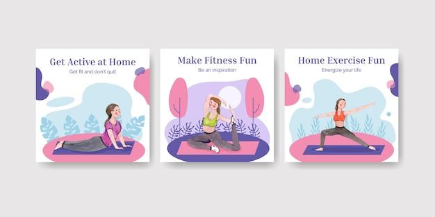 Modello di post sui social media con il concetto di esercizio a casa, stile acquerello
