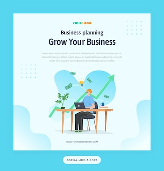 Social media post template with flat character, statistics illustration growing business used for web, app, infographic, advertising, etc