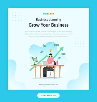 플랫 문자, 통계 그림 성장하는 비즈니스와 소셜 미디어 게시물 템플릿