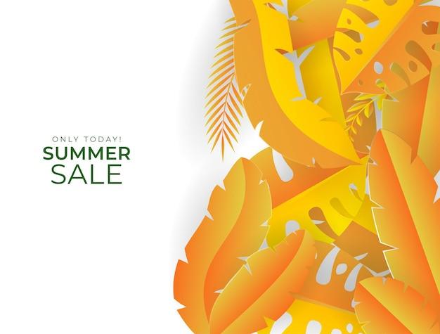 Шаблон сообщения в социальных сетях с элементами цветов и листьев. свежий желтый осенний фон с пальмами, листьями, монстера. векторные иллюстрации для приглашения, открытки, продажи моды